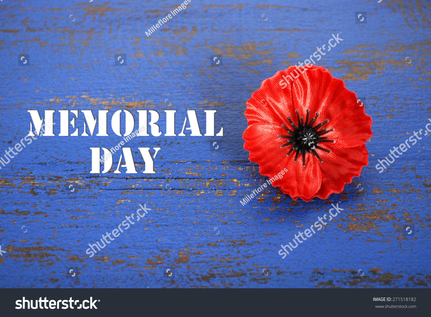 Usa memorial day concept red remembrance stock photo 271518182 usa memorial day concept of red remembrance poppy on dark blue vintage distressed wood table publicscrutiny Image collections