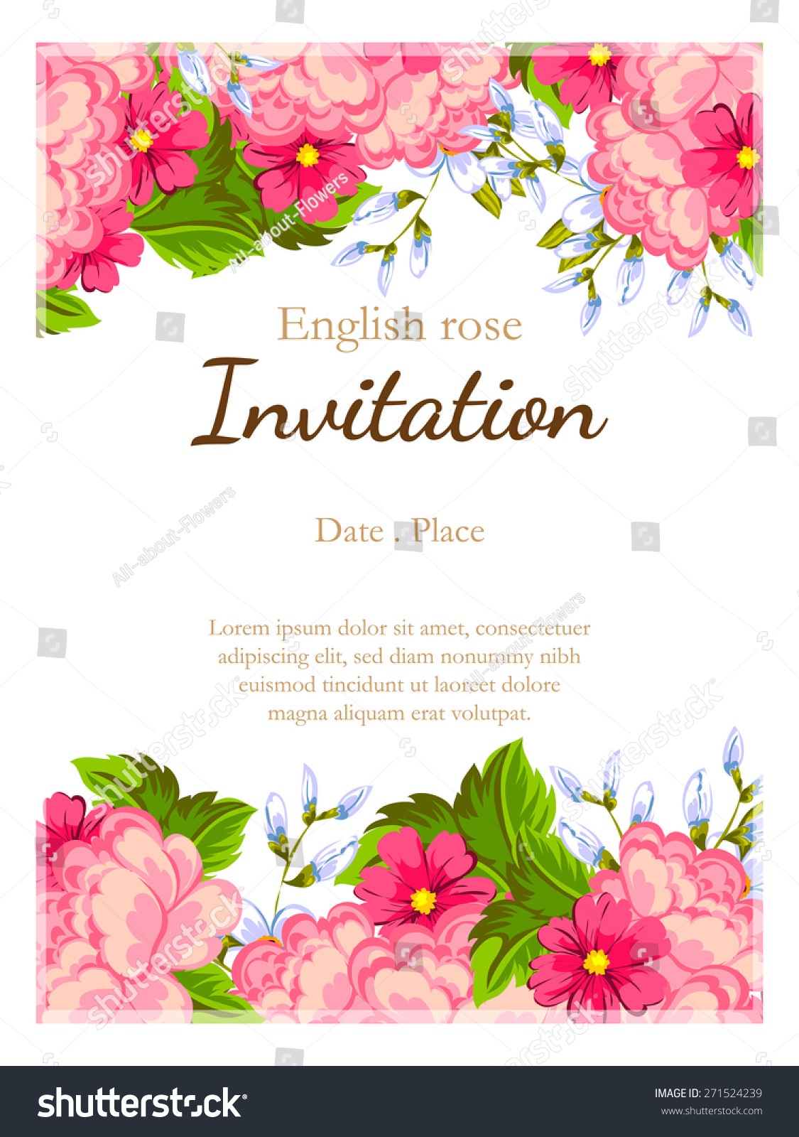 English Rose Romantic Botanical Invitation Greeting Card With