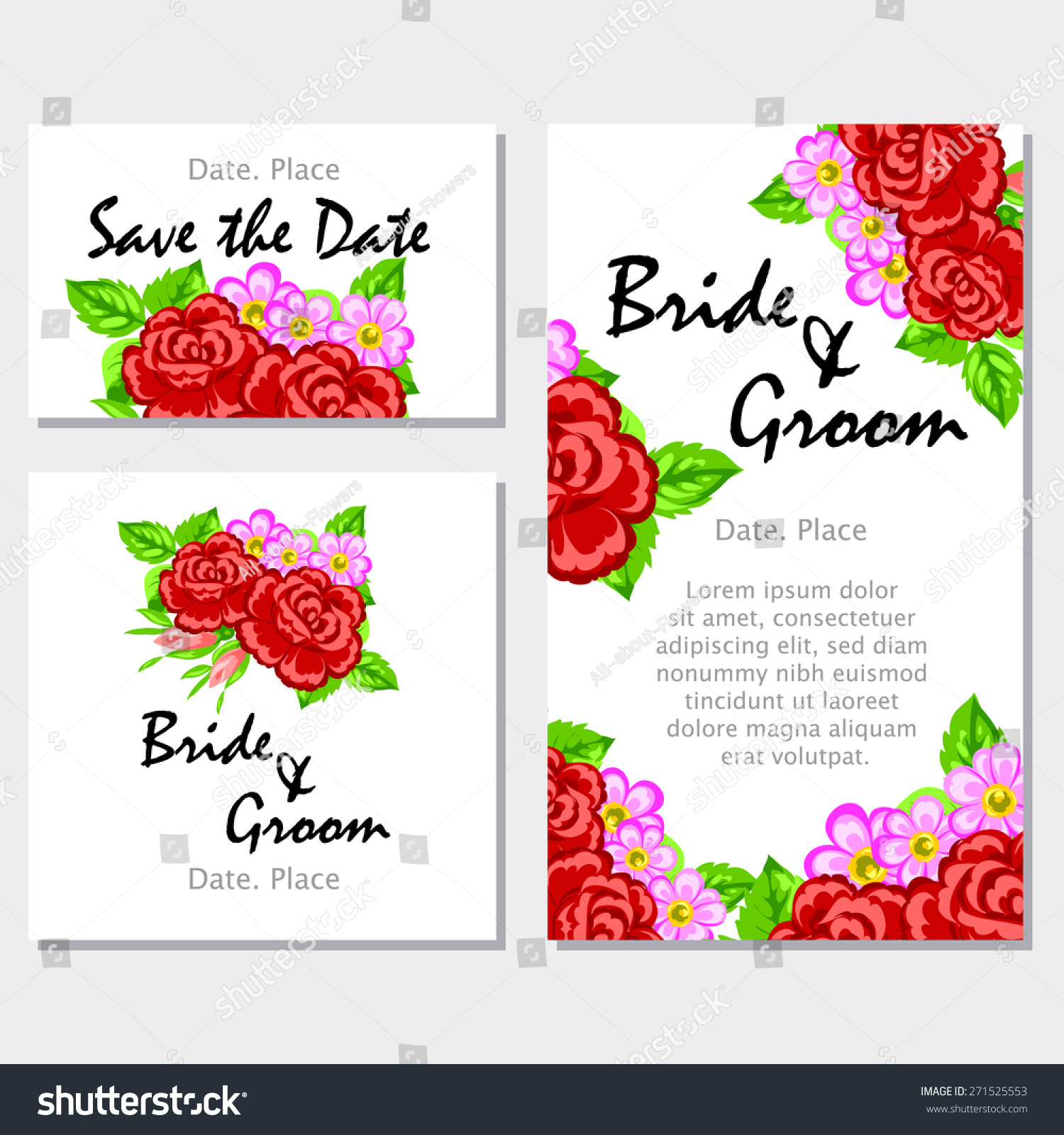 English Rose Wedding Invitation Cards Floral Stock Vector 271525553 ...