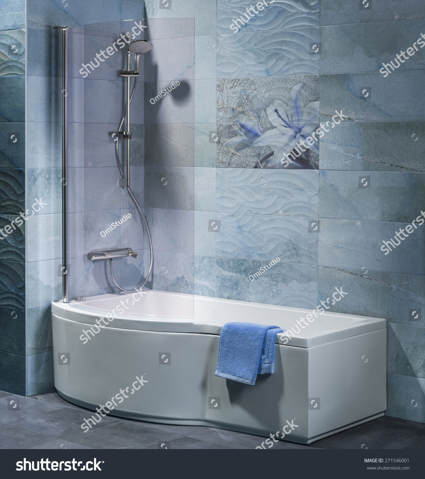 Interior Bathroom Tub Shower Accessories Stock Photo (Royalty Free ...