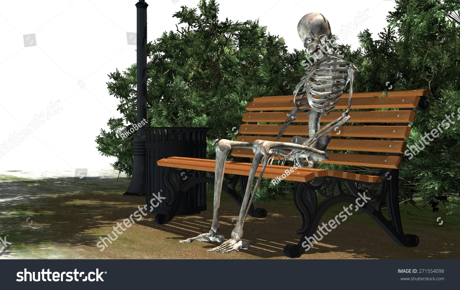 Skeleton Sitting On Park Bench Under A Tree Stock Photo ...