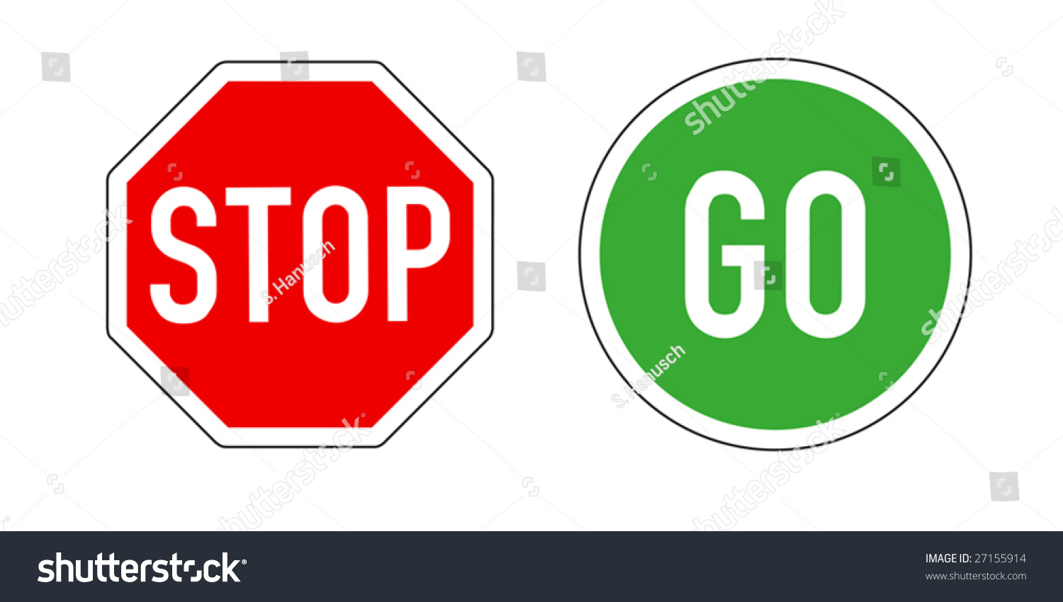 Stop and Go, traffic signs on white backgr