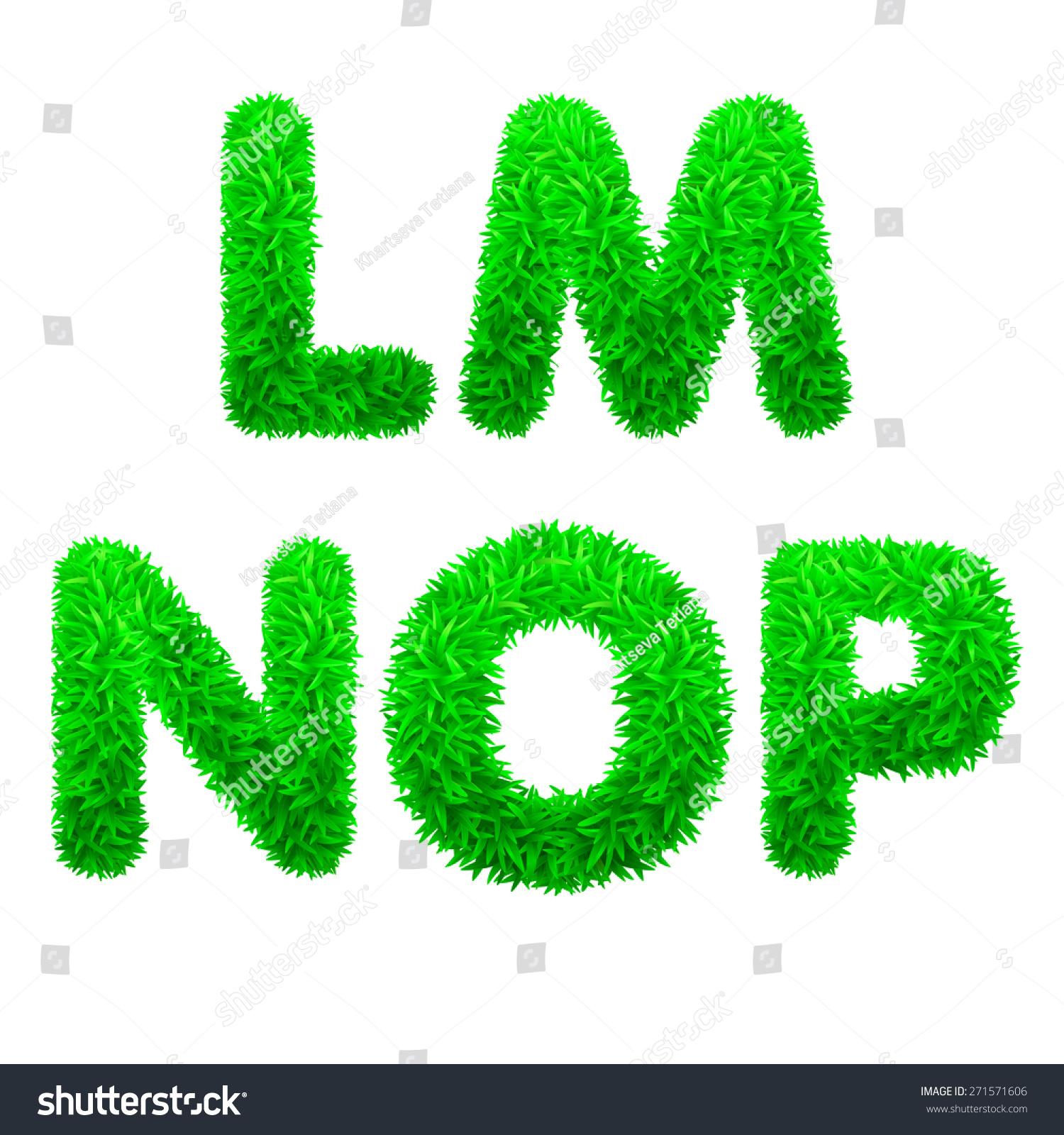 Font Letters Green Grass Vector Eps Stock Vector 271571606 Shutterstock