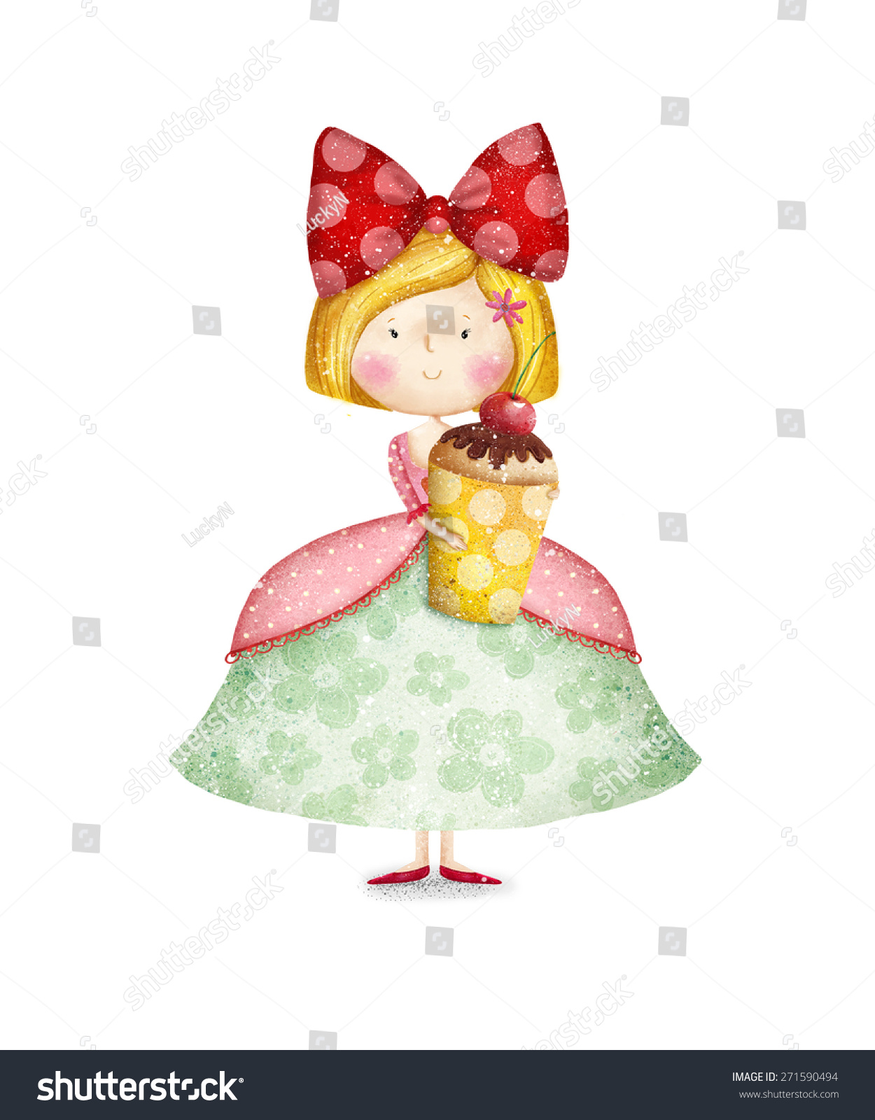 Terrific Cute Small Girl With Cupcake Childish Card In Sweet Colors Little Inspirational Interior Design Netriciaus