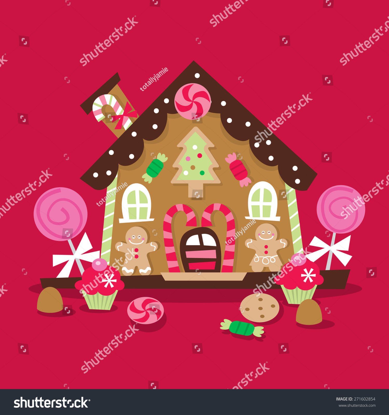 Awesome A Cartoon Vector Illustration Of A Whimsical And Retro Inspired Christmas  Gingerbread House With Lots Of Photo Gallery