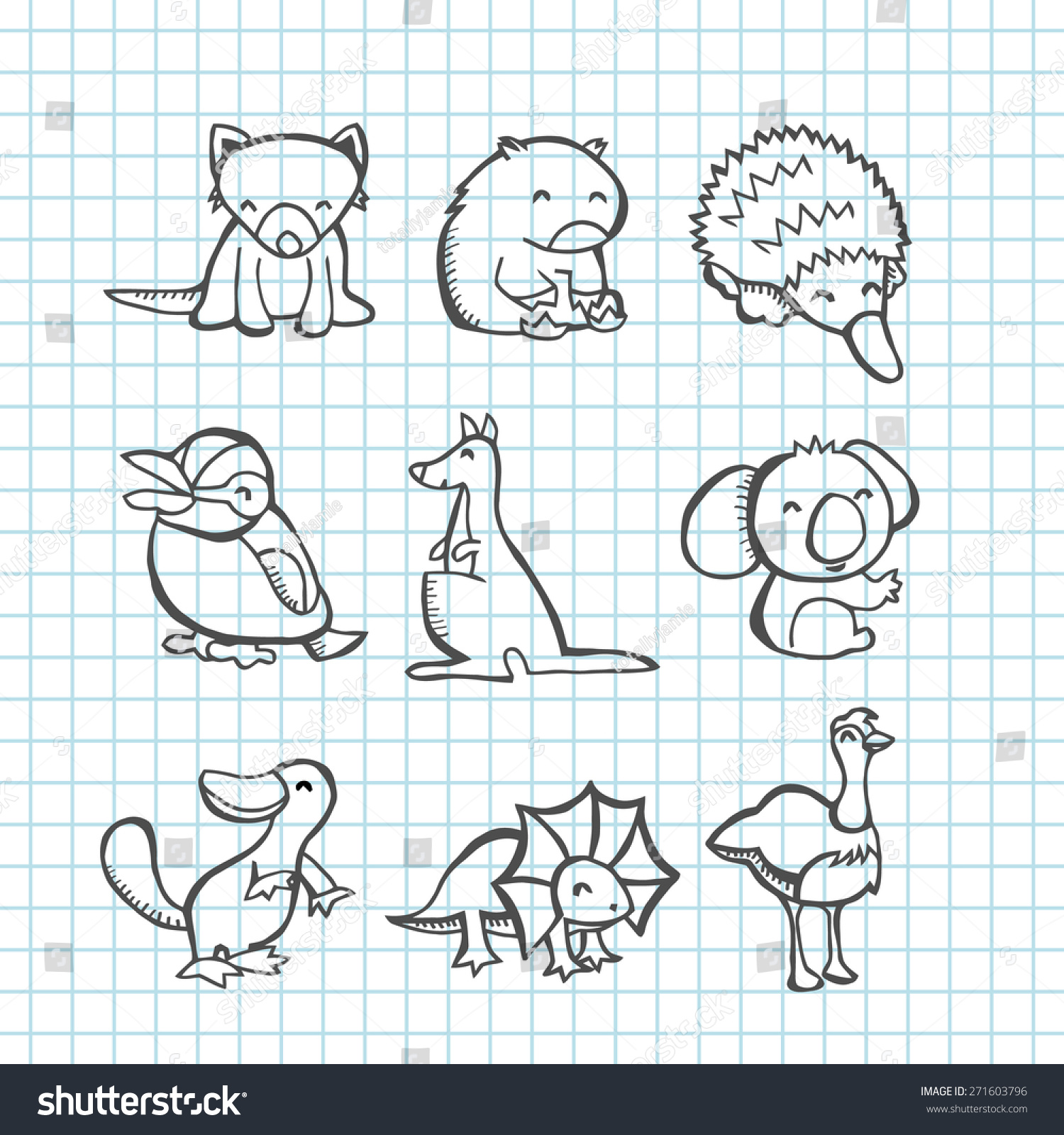 Line Art Emui : Vector illustration happy australian animals set stock