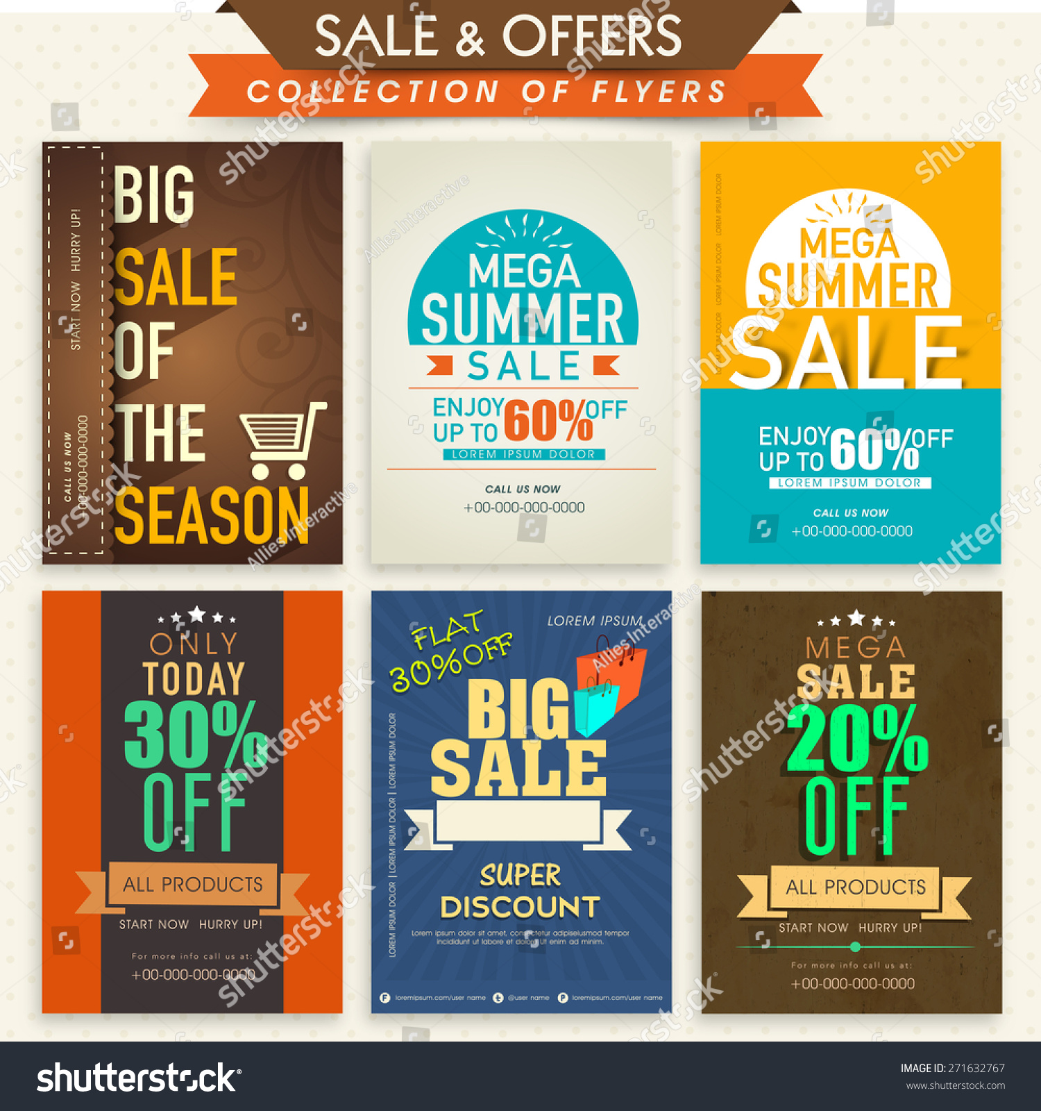 template banner flyers set big stock vector  template banner or flyers set for big attractive discount offers