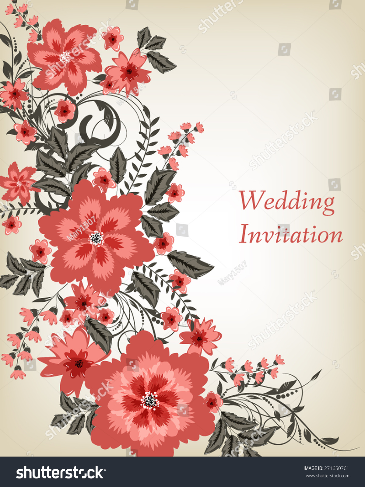Wedding invitation card. Flowers abstract colorful background ...
