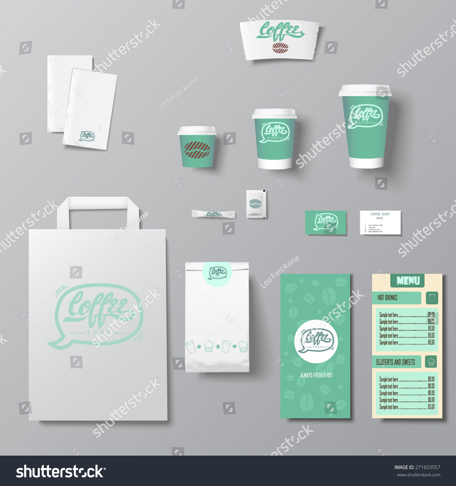 Coffee Shop Corporate Identity Template Design Stock Vector ...