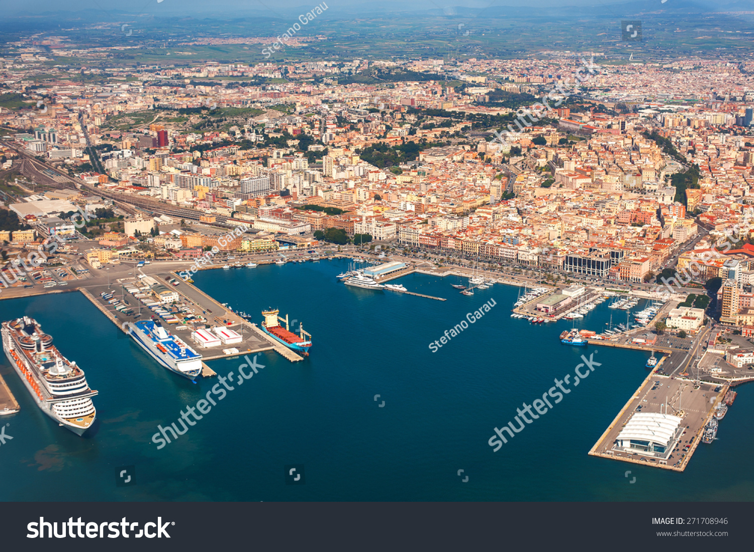 Aerial View Of The Port Of Cagliari And The City Stock ...