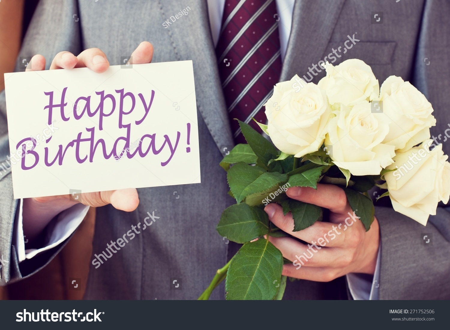 Happy Birthday Man Greeting Card Bouquet Stock Photo Edit Now 271752506