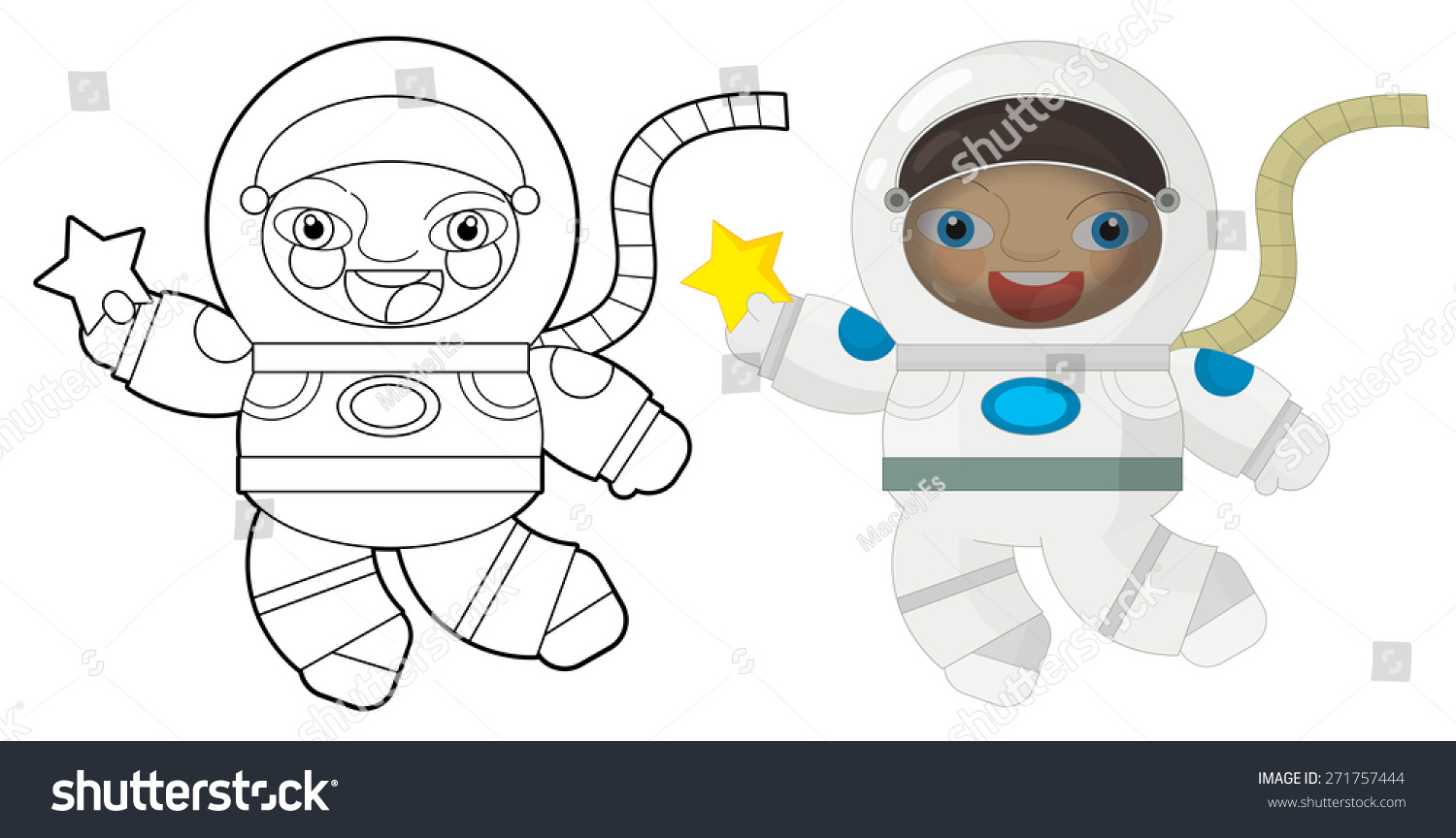 Cartoon Character Astronaut Coloring Page Illustration Stock ...