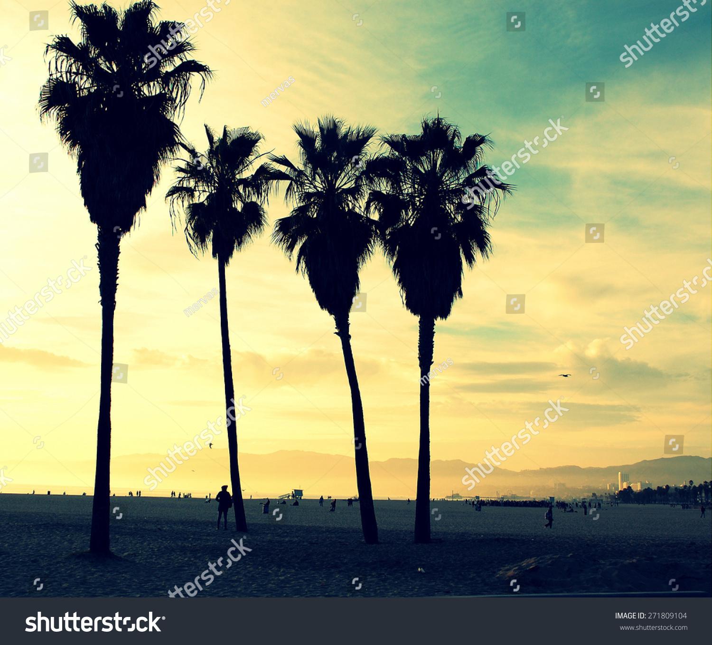 Venice Beach Sunset Vintage Retro Cross Stock Photo