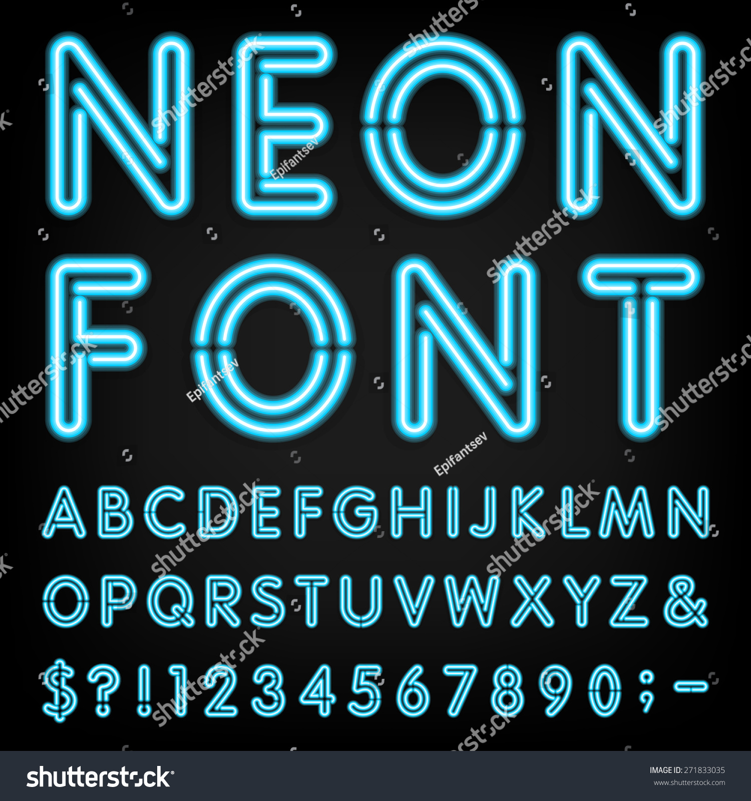 Neon Light Alphabet Vector Font Type Letters Stock Vector