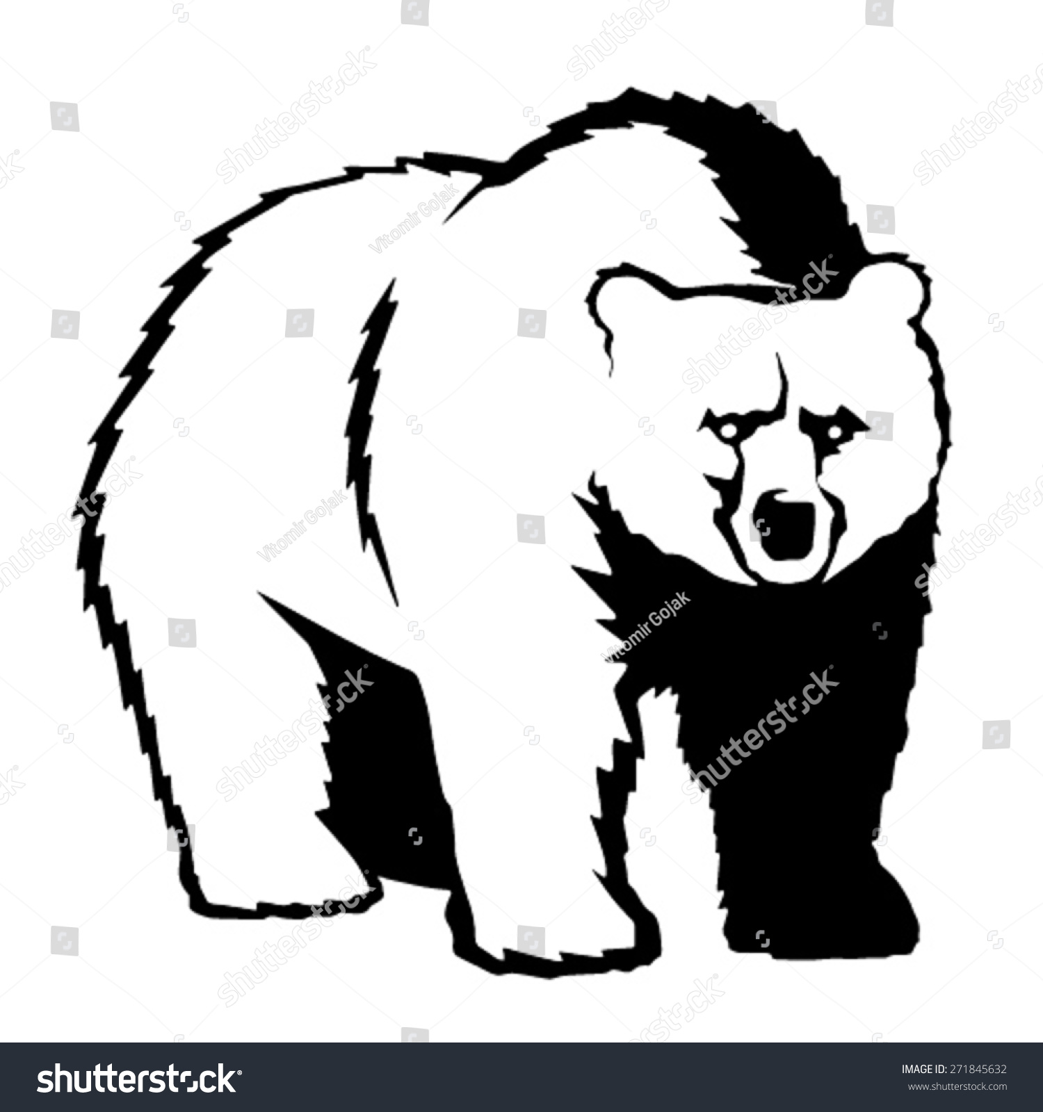 grizzly bear outline illustration stock vector 271845632