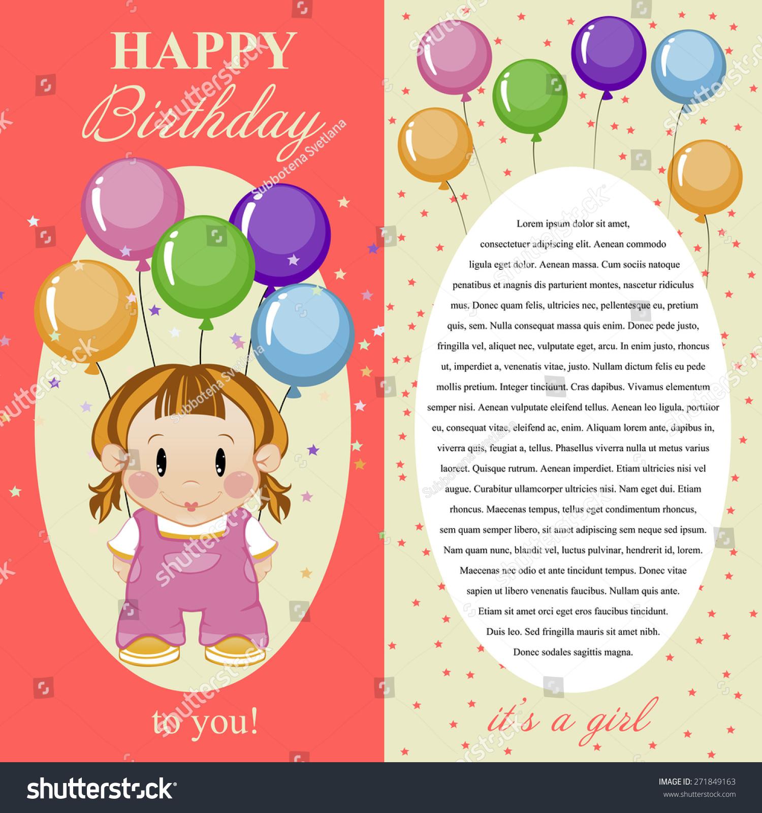 Greeting card baby girl happy birthday stock vector 271849163 greeting card for baby girl happy birthday kristyandbryce Gallery