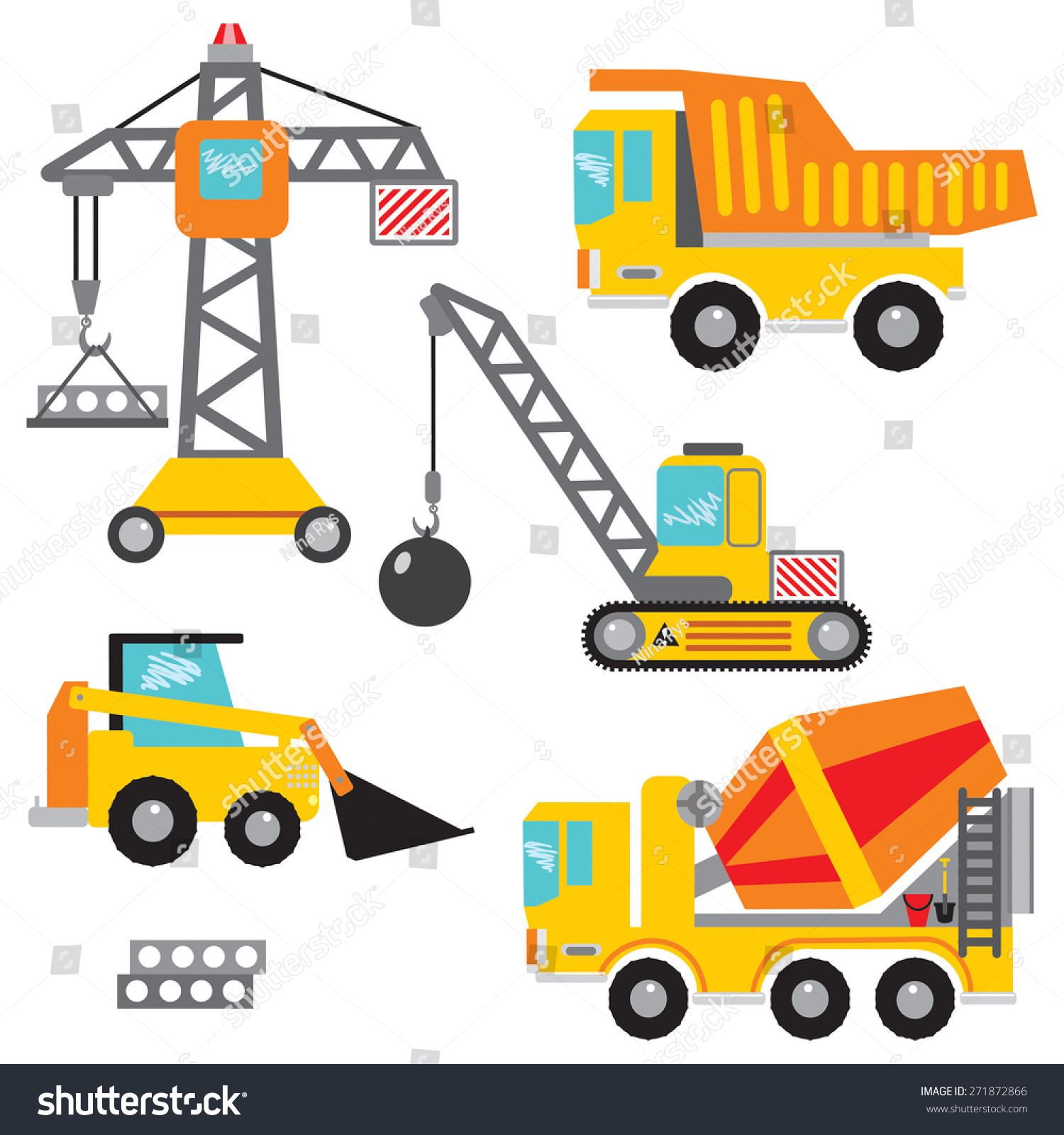 Masonry Business Clip Art : Vector set clip art construction machinerytower stock
