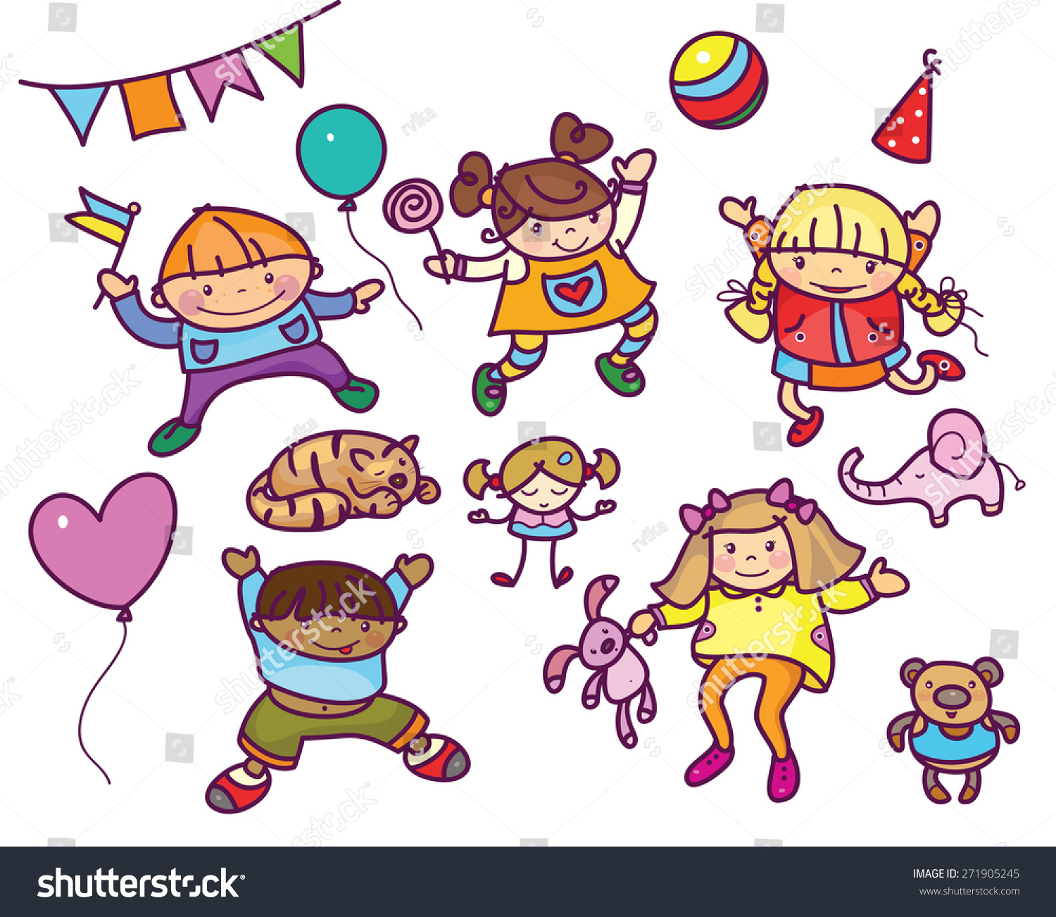 Vector Kids Toys Cartoons Isolated Stock Vector