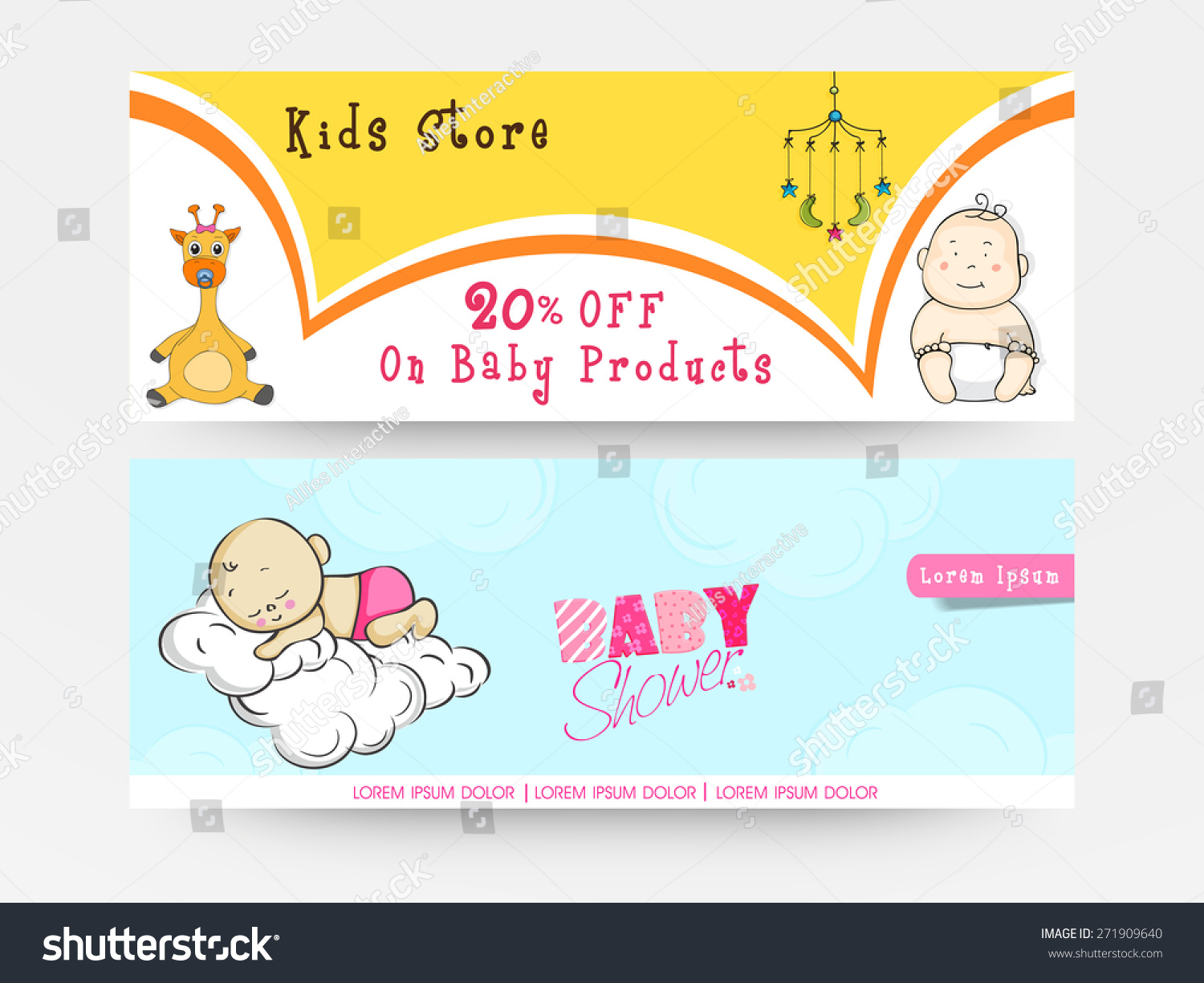Charming Website Header Or Banner Set For Baby Shower Celebration With Baby Products  Sale Offer For Kids