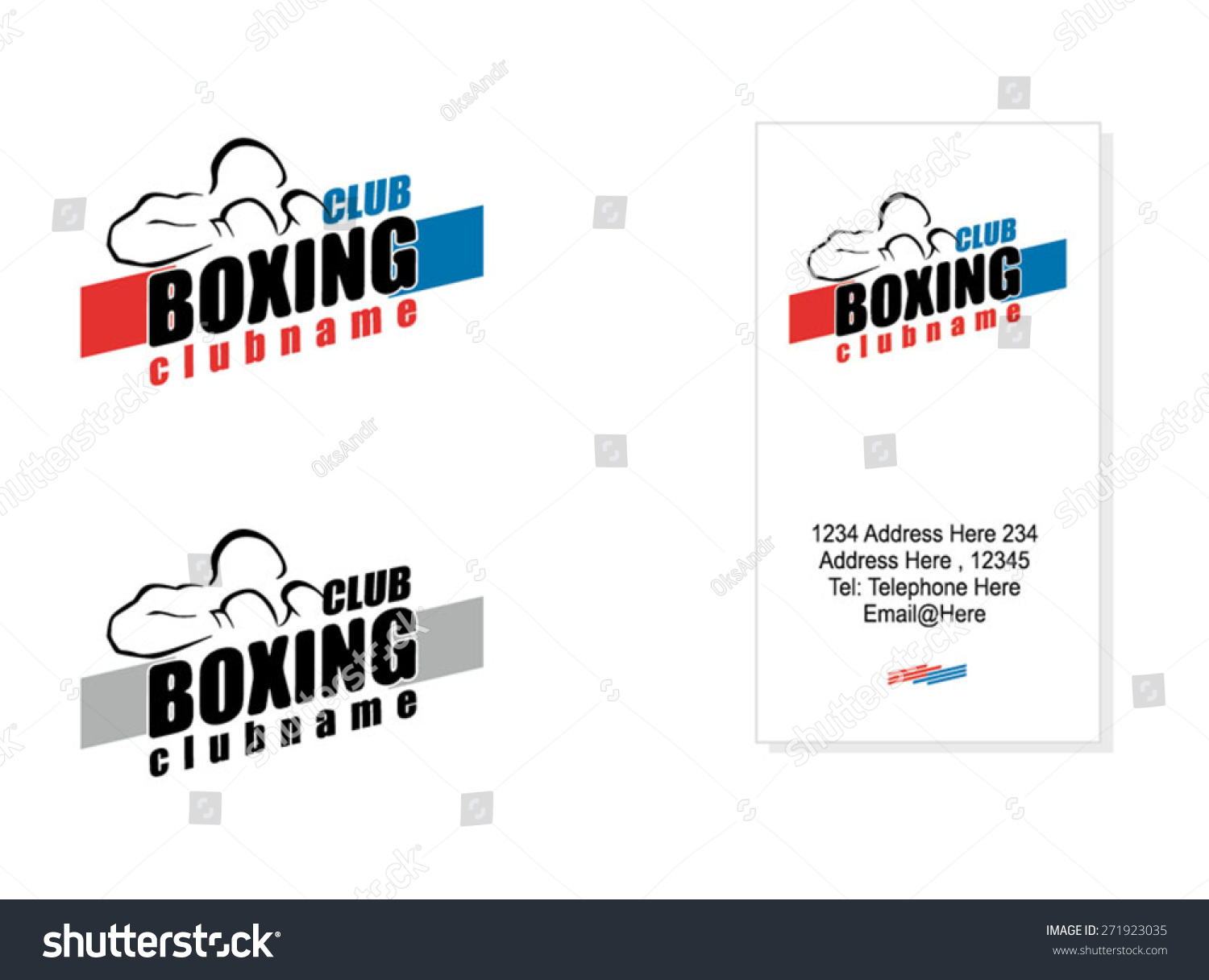 Boxing Club Logo Business Card Example Stock Vector 271923035 ...