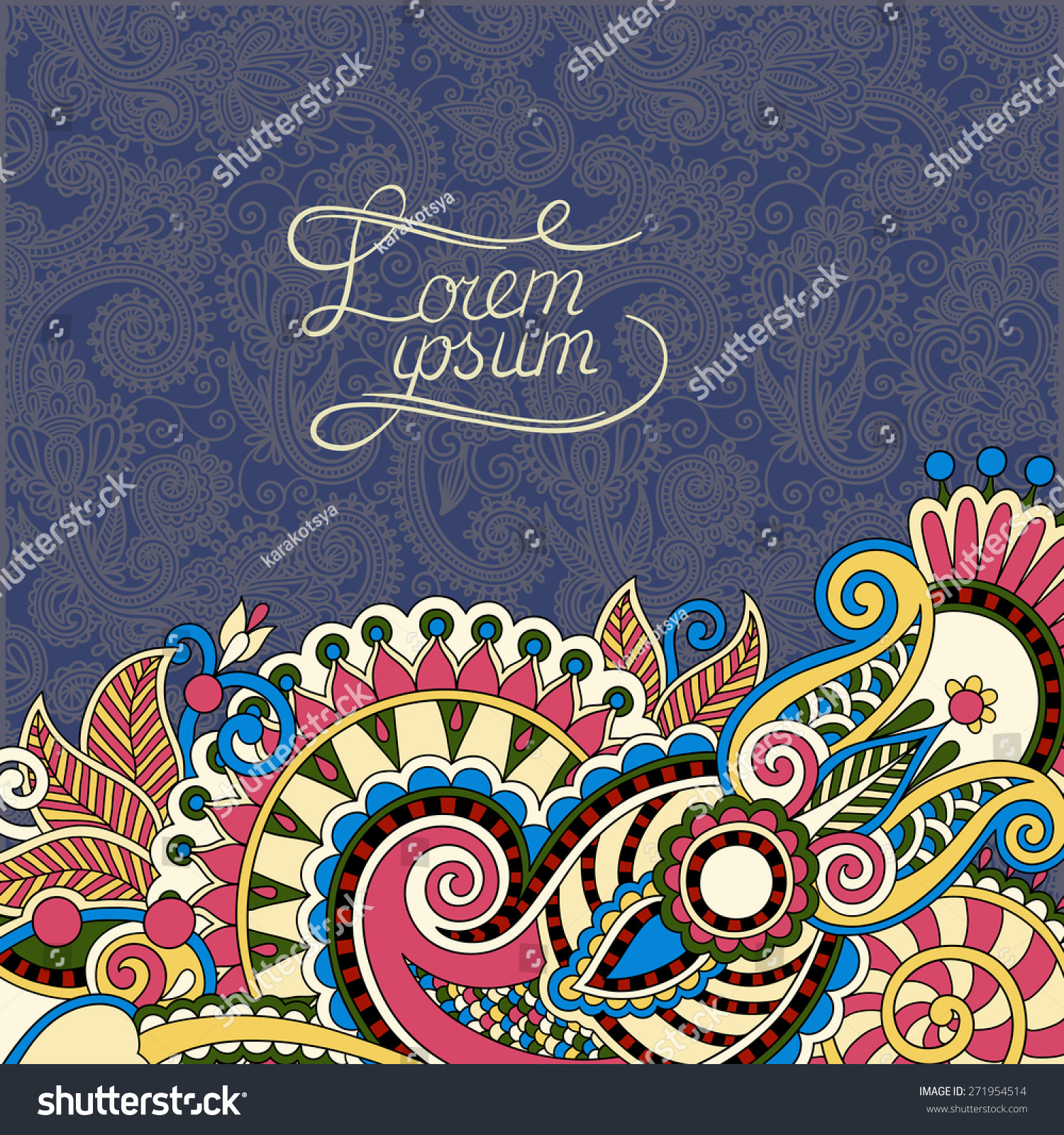 Book Cover Design Flower : Paisley design on decorative floral background stock