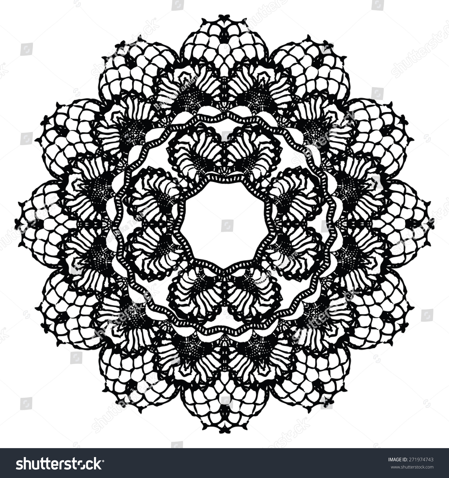 Crochet Stitches Vector : stock-vector-black-crochet-doily-vector-illustration-may-be-used-for ...