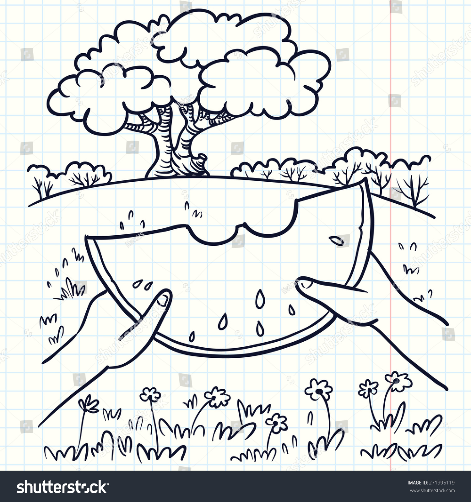 handdrawn doodle illustration summer landscape watermelon stock