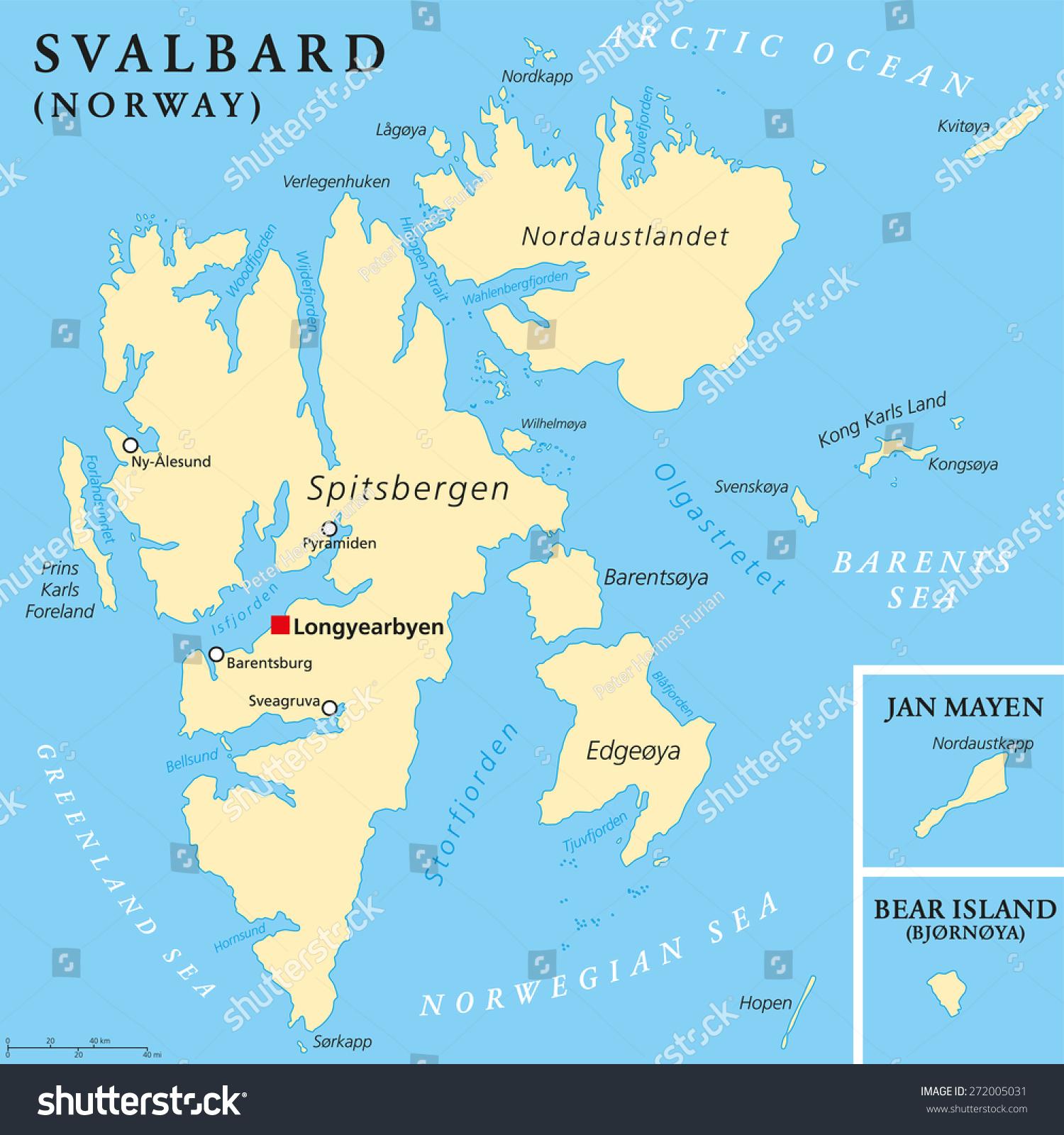 Svalbard Political Map Capital Longyearbyen Norwegian Stock Vector
