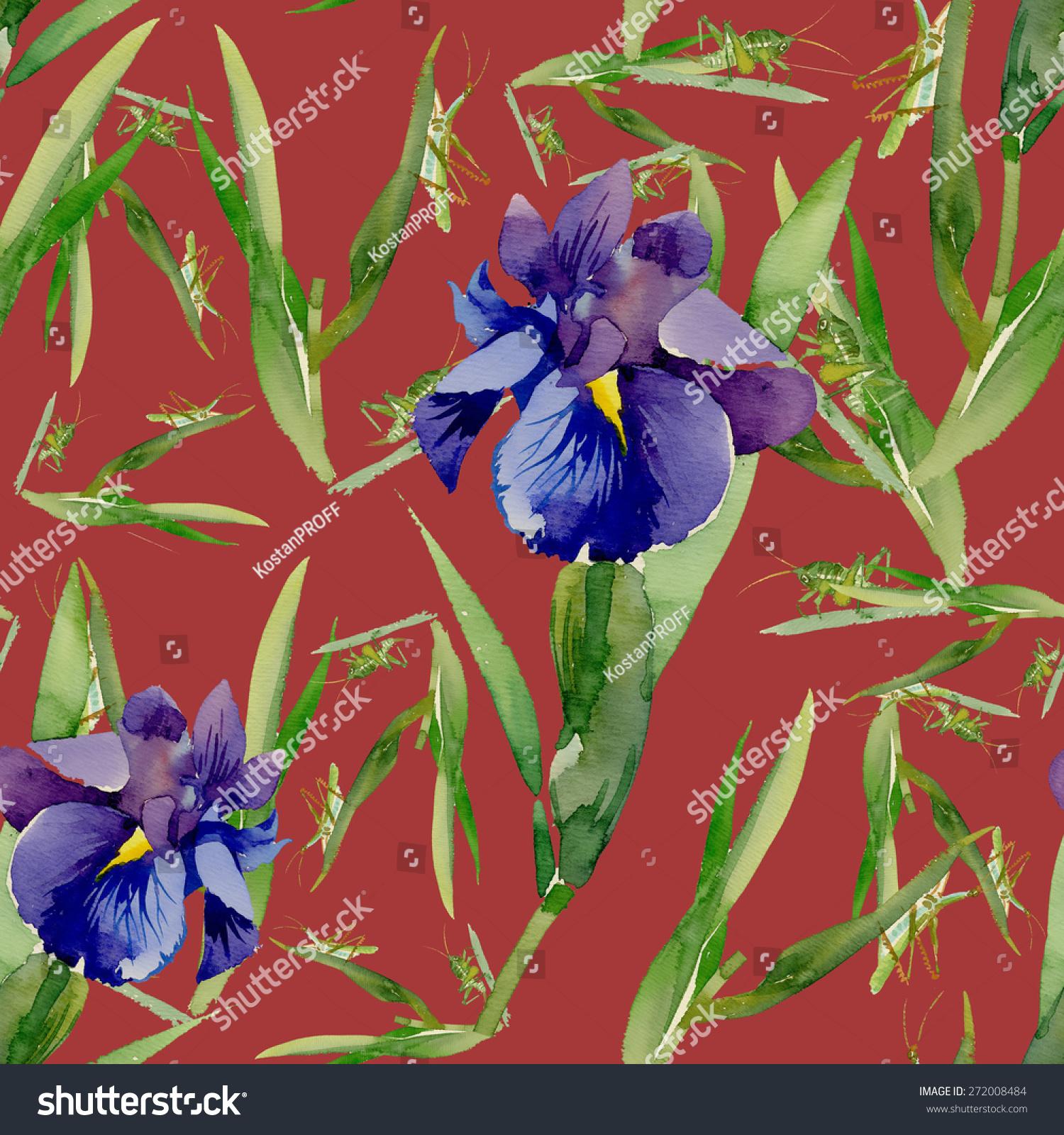 Blue Iris Flowers Bee Watercolor Seamless Stock Vector 272008484 ...