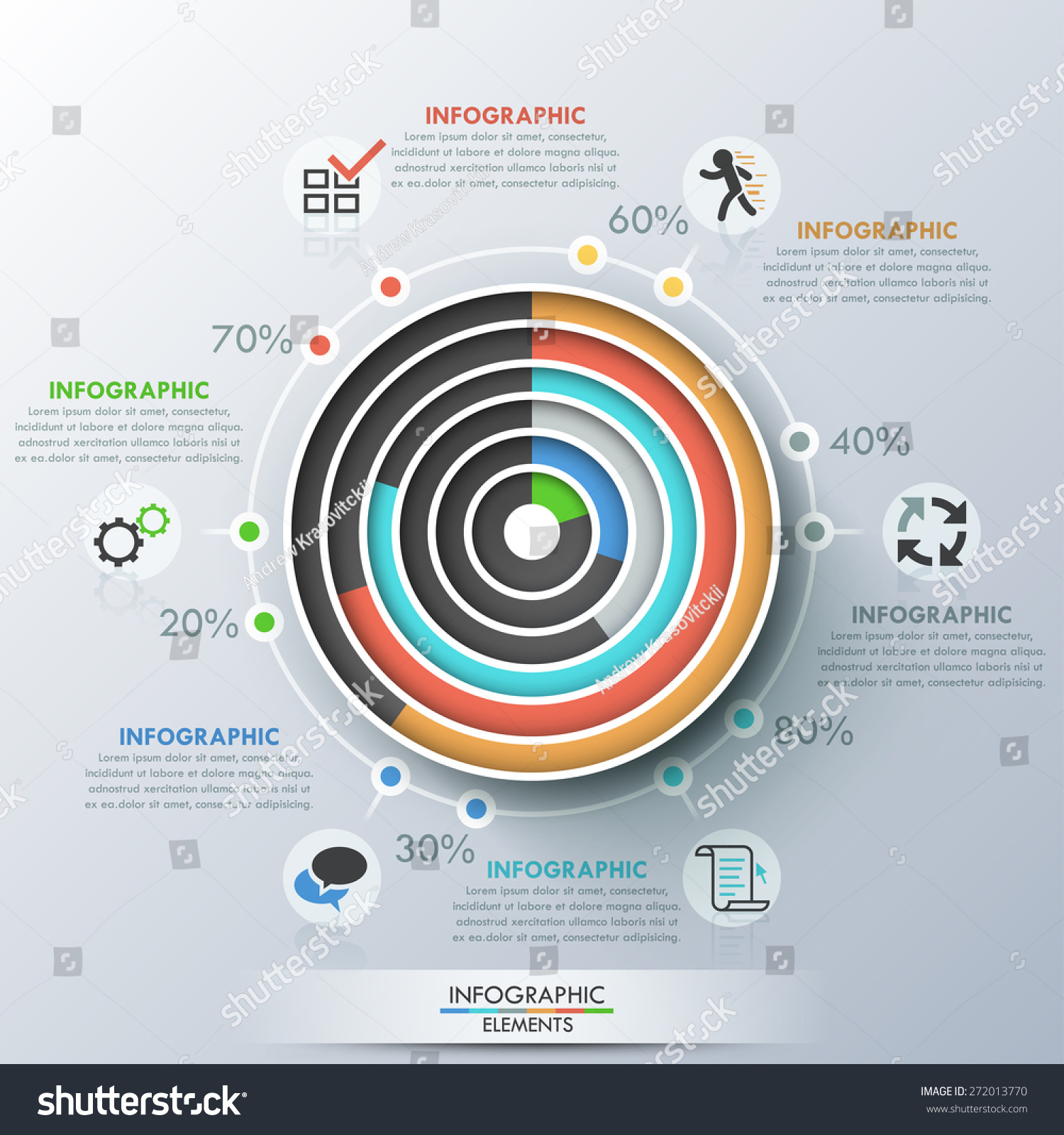 Modern infographics template paper concentric circles stock vector modern infographics template with paper concentric circles pie charts and icons for 6 options pooptronica Choice Image