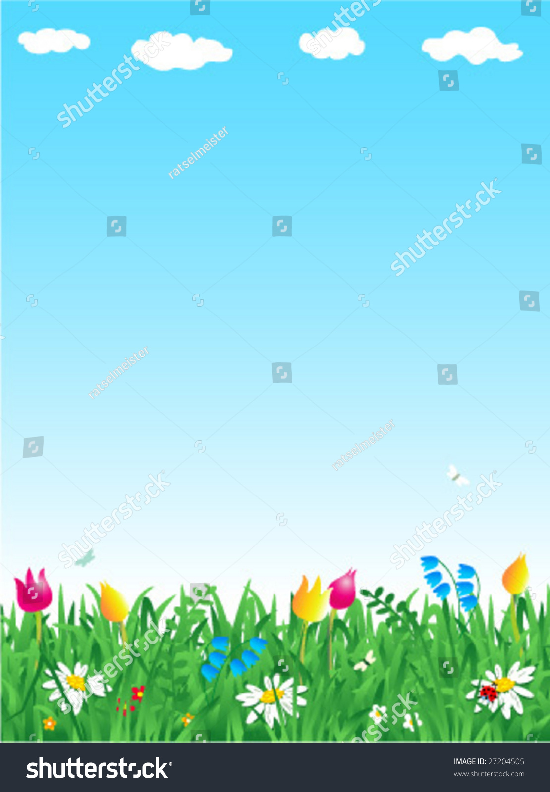 Grass And Flowers Spring Vertical Vector Background For High Res JPEG Or TIFF See Image