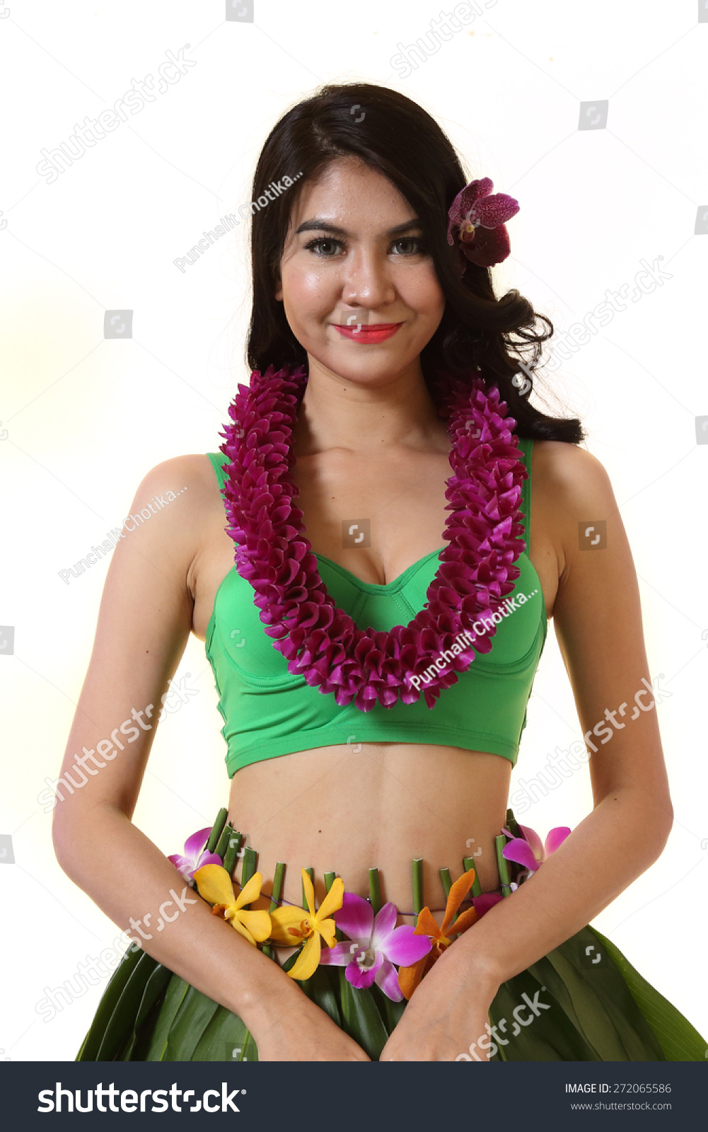 Beautiful woman dress hawaiian style flower stock photo 272065586 beautiful woman dress in hawaiian style with flower lei garland of orchids on white background izmirmasajfo Images
