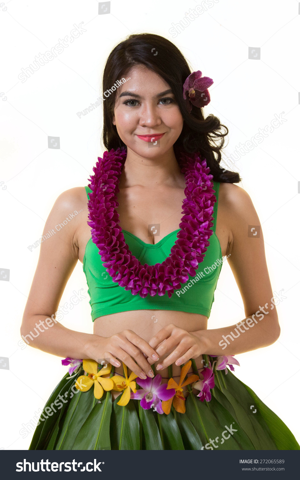 Beautiful woman dress hawaiian style flower stock photo edit now beautiful woman dress in hawaiian style with flower lei garland of orchids on white background izmirmasajfo