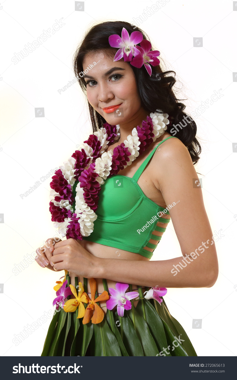 Beautiful woman dress hawaiian style flower stock photo 272065613 beautiful woman dress in hawaiian style with flower lei garland of orchids on white background izmirmasajfo Images