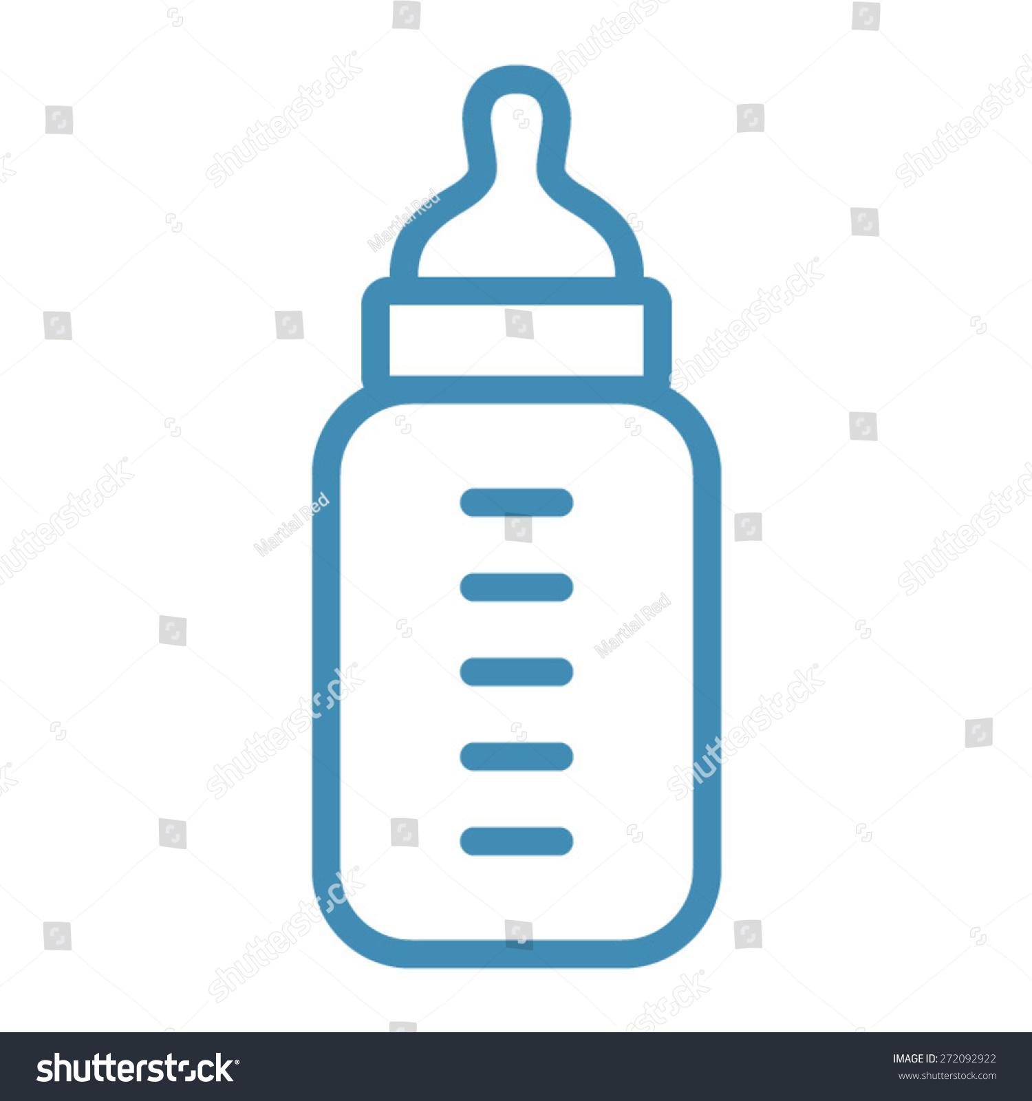 Vector Drawing Lines App : Baby milk bottle line art icon stock vector