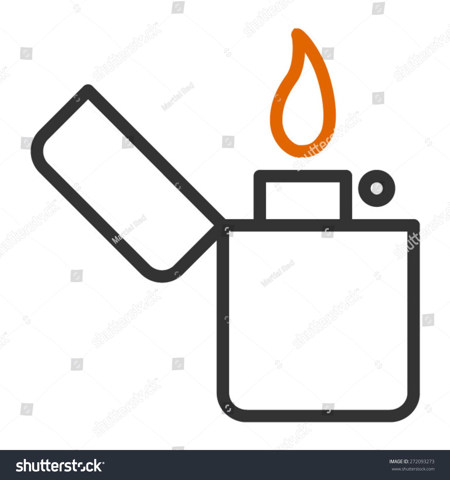 Line Art App : Vintage lighter line art icon apps stock vector