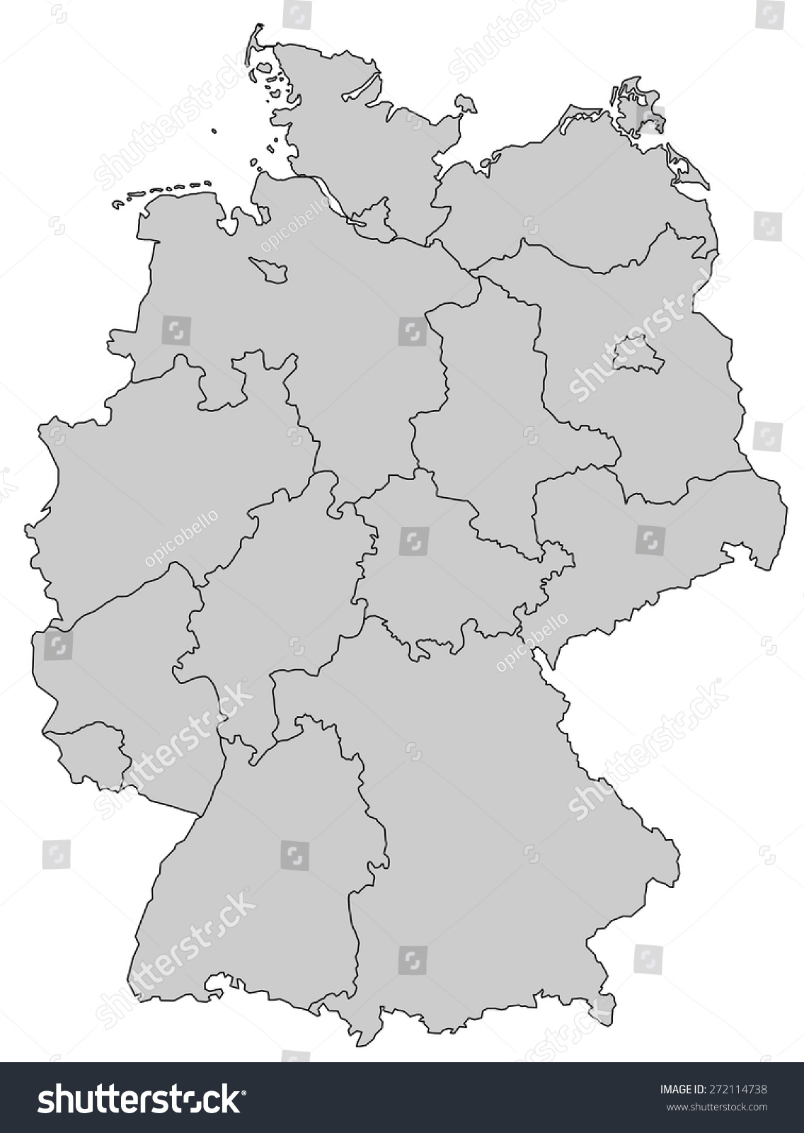 Germany Map Provinces Gray Stock Vector Shutterstock - Germany map provinces