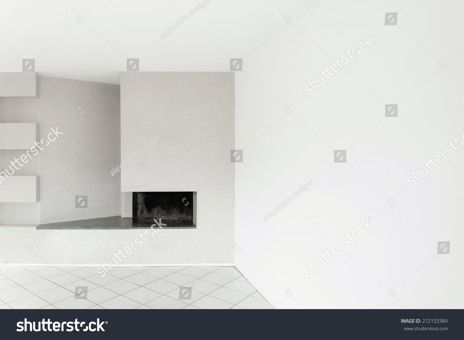 architecture interiors of empty apartment room with fireplace ez
