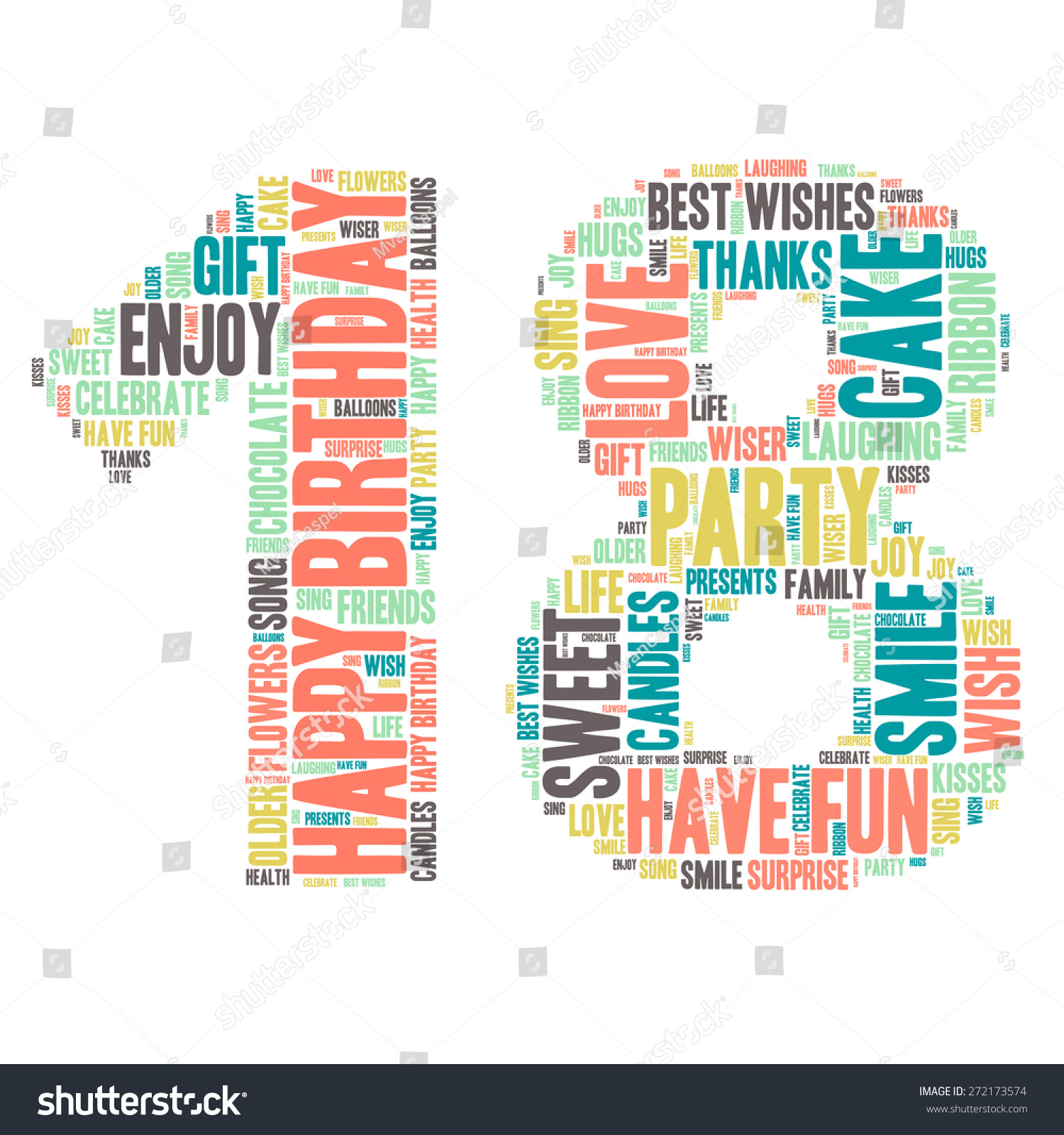 Word Cloud Happy Birthday Celebration Colorful Stock Vektorgrafik