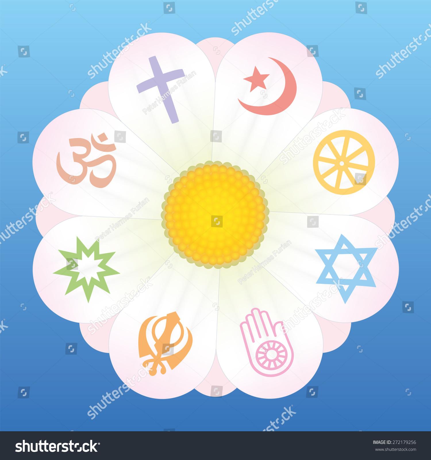 World Religion Symbols On Petals Flower Stock Vector 272179256