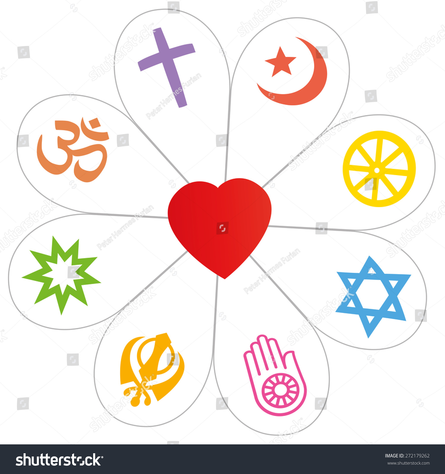 Religion symbols that form flower heart stock vector 272179262 religion symbols that form a flower with a heart as a symbol for religious unity or buycottarizona
