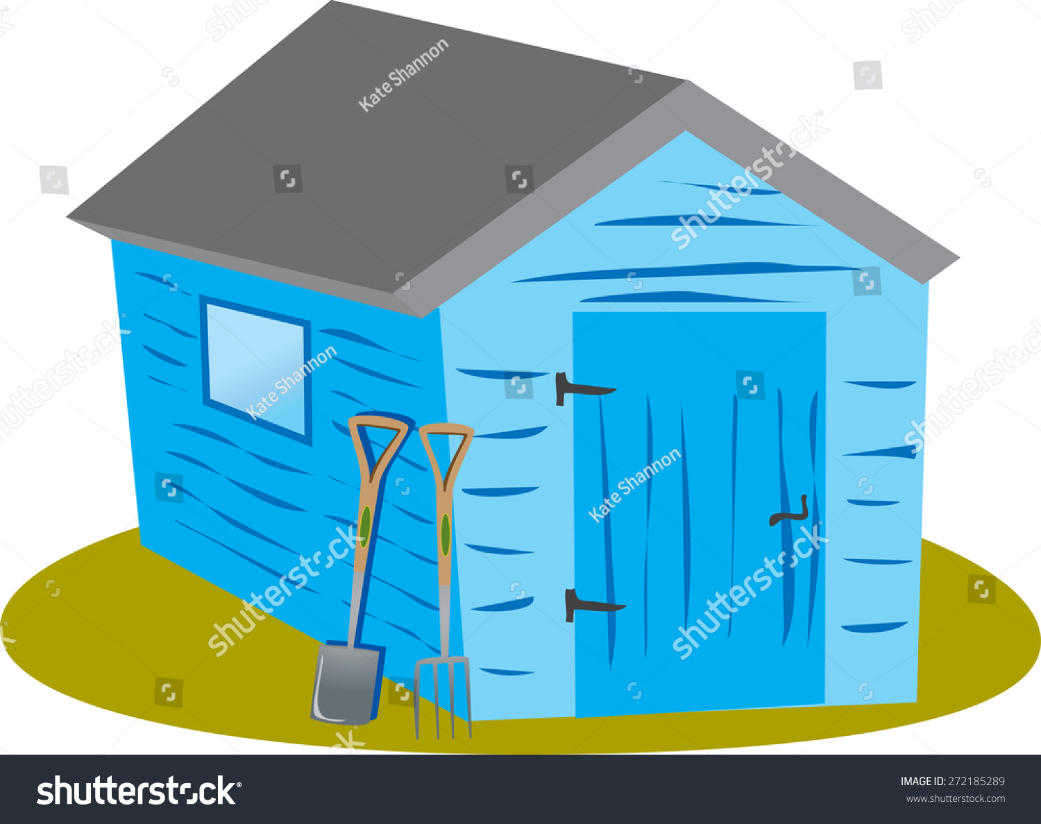Cartoon Blue Garden Shed Garden Spade Stock Vector