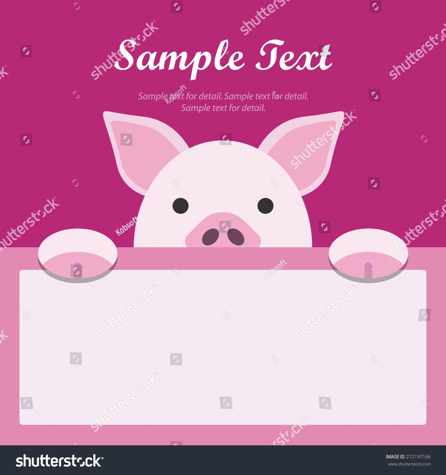 Pig Face Text Box, Flat Design Banner, Animal Avatar Background.
