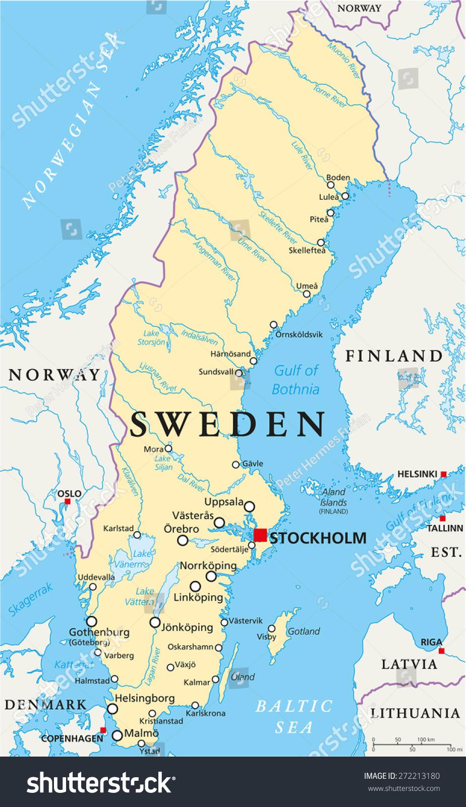 Sweden Political Map Capital Stockholm National Stock Vector - Sweden map in english