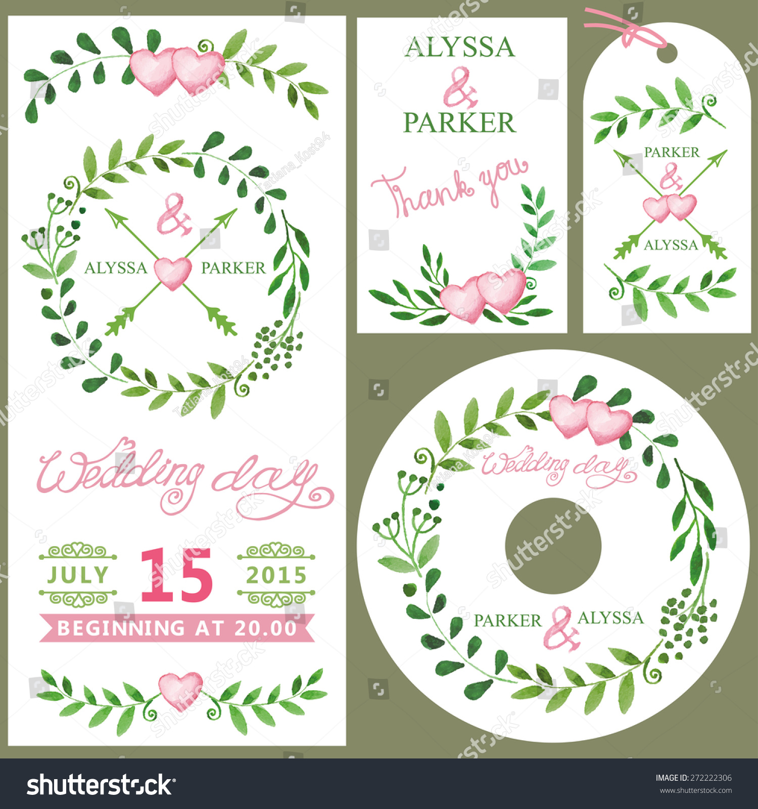 wedding invitation design template setwatercolor green branches wreathpink heartribbon