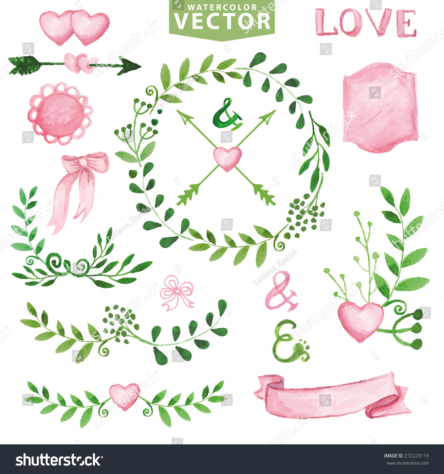 Watercolor Wedding Decoreen Branches Wreaths And Laurels Pink