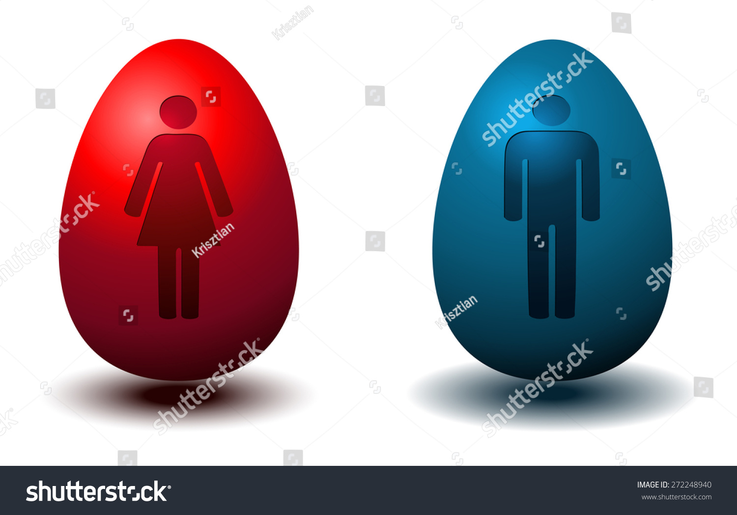 Boy Bathroom Sign Girl And Boy Restroom Signs On A Colored Red And Blue Glossy Eggs