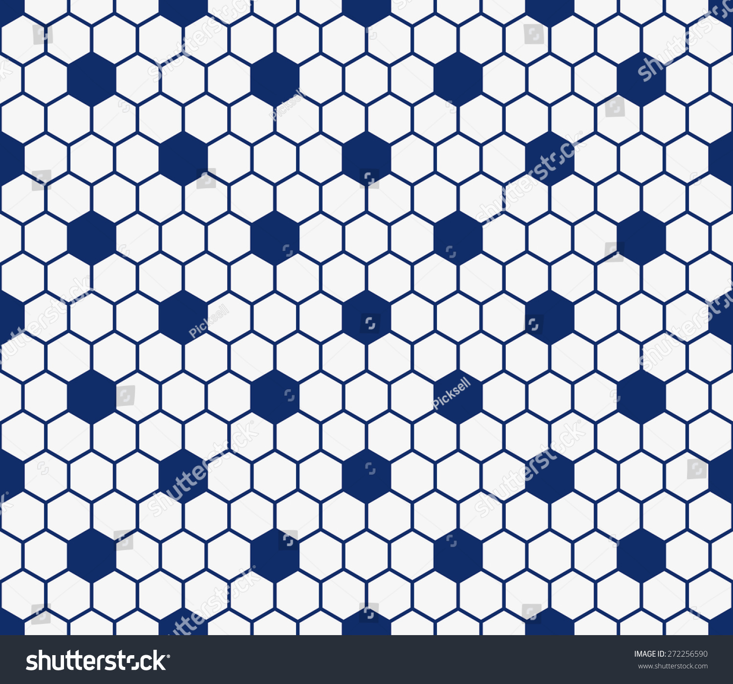 Seamless Porcelain Indigo Blue And White Hexagon Honeycomb