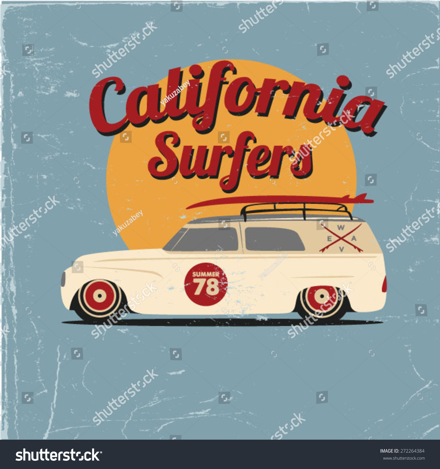 Poster design and printing - Surfer Car Poster Design Apparel Printing Vector Illustration T Shirt Design