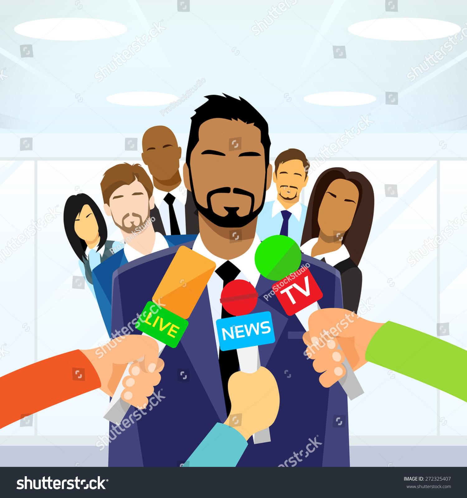 interview businessman team leader hands microphones stock vector interview businessman team leader hands microphones flat vector illustration